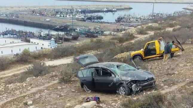 خسائر فادحة في سقوط سيارة بمنحدر جبل أكادير أوفلا