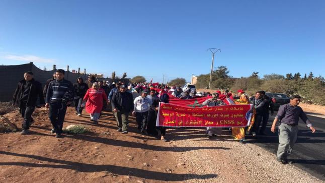 مسيرة احتجاجية لعاملات وعمال شركة روزا فلور الفلاحية لمشغلها الميلياردير الصحراوي