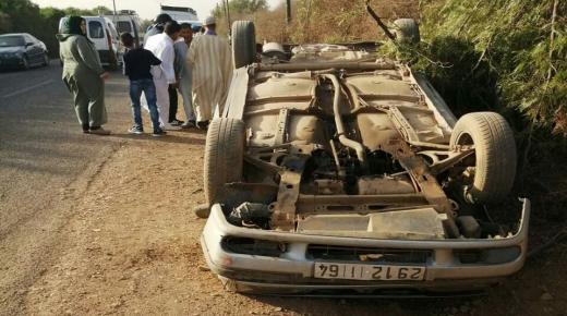 في أول أيام عيد الفطر.. نجاة 6 أشخاص في حادث انقلاب سيارة بجماعة الكفيفات ضواحي أولاد تايمة