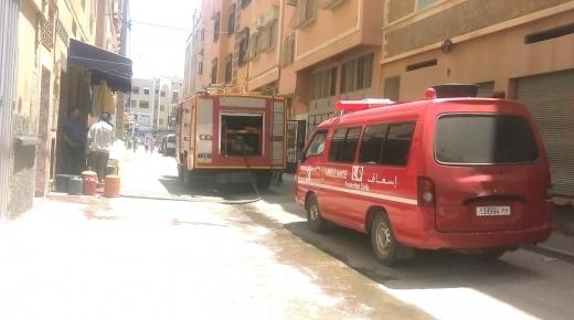 عاجل..  تماس كهربائي يتسبب في اندلاع حريق بإحدى المنازل بأولاد تايمة