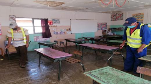 بالصور: تعقيم المدارس العمومية بجماعة تافنكولت استعدادا لاستقبال التلاميذ