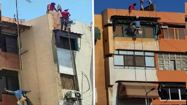 سقوط عاملين من منصة لتركيب زجاج عمارة بأكادير