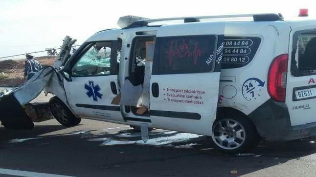 مصرع 3 أشخاص في حادث اصطدام سيارة إسعاف وشاحنة بماسة