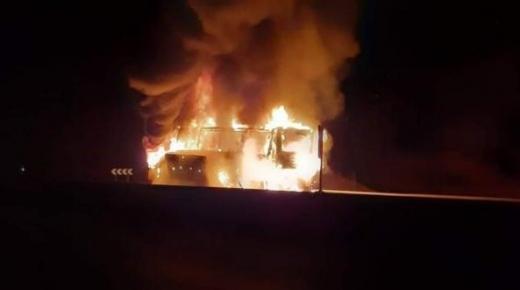 اندلاع حريق في حافلة لنقل المسافرين بين مراكش وأكادير