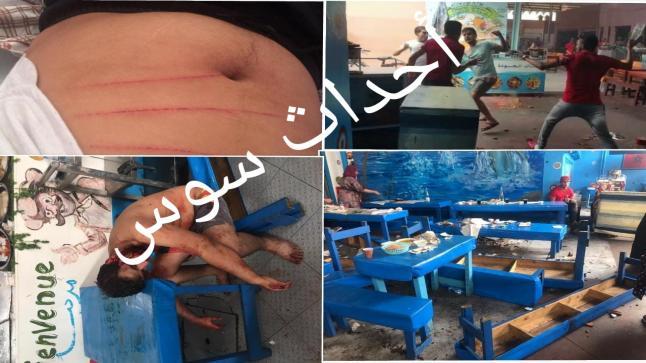 بالصور والفيديو .. جريدة أحداث سوس تنفرد وتنشر صور وحقيقة ما وقع بإحدى مقاهي بيع السمك بسوق الأحد