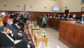 بالفيديو ، حفل تنصيب هشام الحسني وكيلا للملك لدى المحكمة الابتدائية بإنزكان وعبد الحكيم صباح رئيسا لها