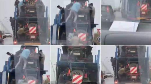 فيديو يقود لاجهاض هجرة سرية وتوقيف شخصين على متن شاحنة مرقمة بالخارج