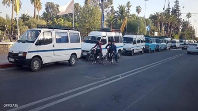 """إضراب """" النقل المزدوج """" يربك حركة النقل العمومي في تارودانت"""