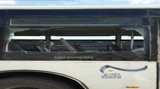 """مجهولون وراء تكسير زجاج حافلات للنقل الحضري """" ألزا """" + صور"""