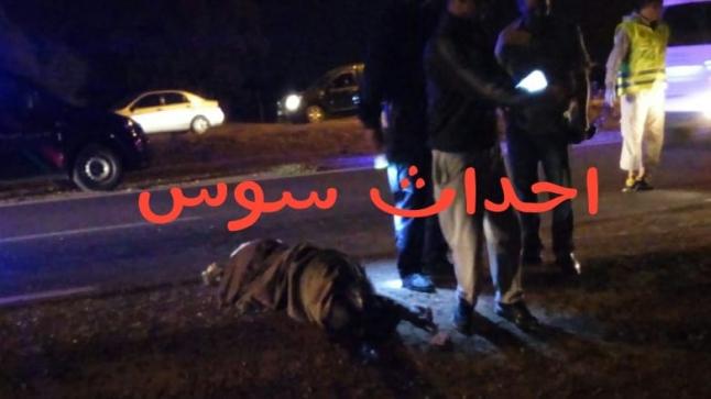 """عاجل وبالصور : سيارة """" دوبلو """" تقتل اربعينيا بطريق المطار في ايت ملول"""
